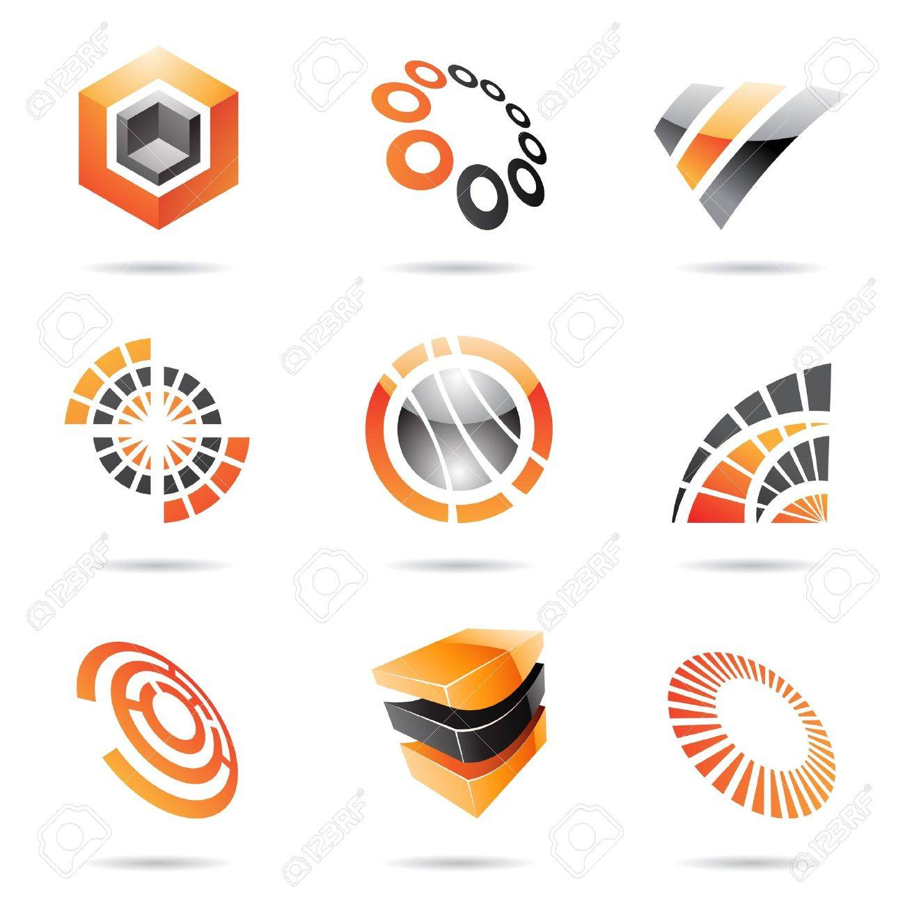 Various orange abstract icons isolated on a white background Stock Vector - 14993152