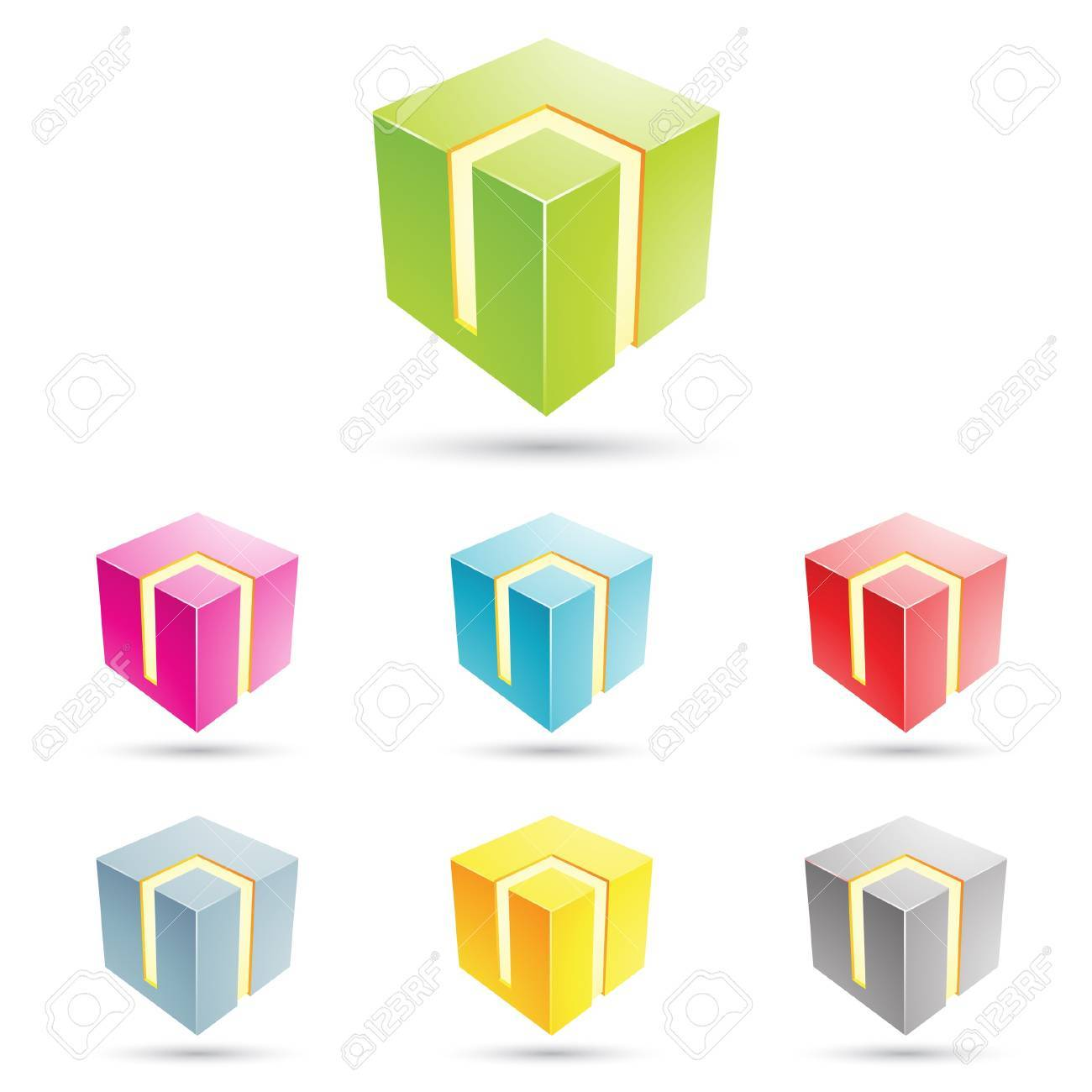 eps vector illustration of colorful cubical icons - 22029196