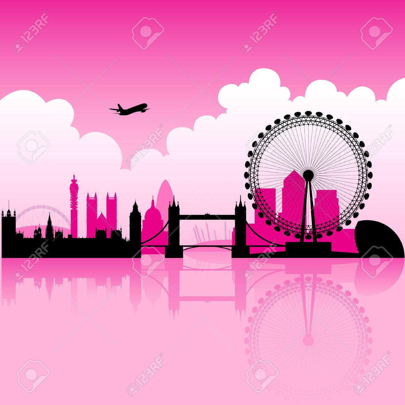 Illustration of London Magenta Skyline and a cloudy background - 23638166