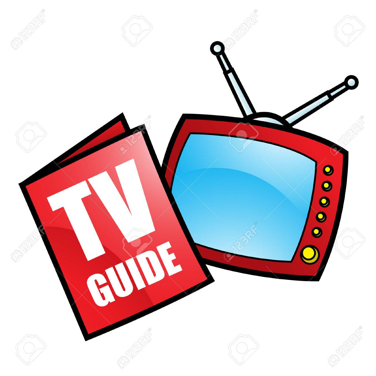 Illustration of TV Guide and Television isolated on a white background - 23638119