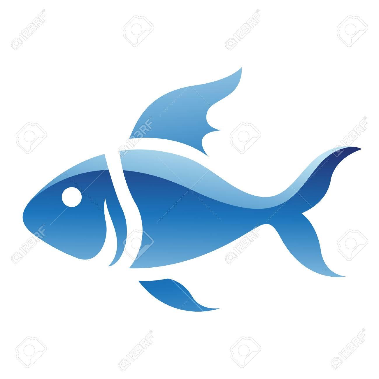 青い魚アイコン、白い背景で隔離のイラスト ロイヤリティフリー