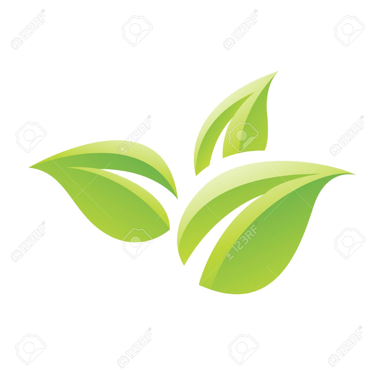 Illustration of Green Glossy Leaves Icon isolated on a white background - 23638035