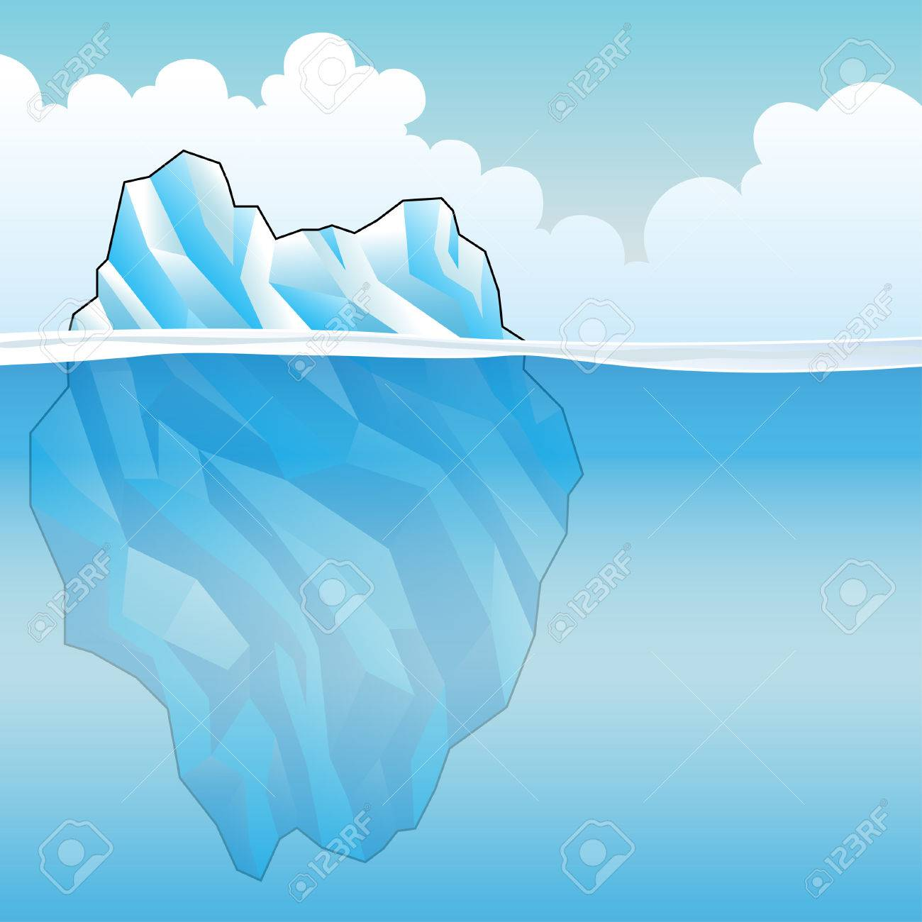 Blue Iceberg on a bright cloudy day Vector Illustration - 33599479
