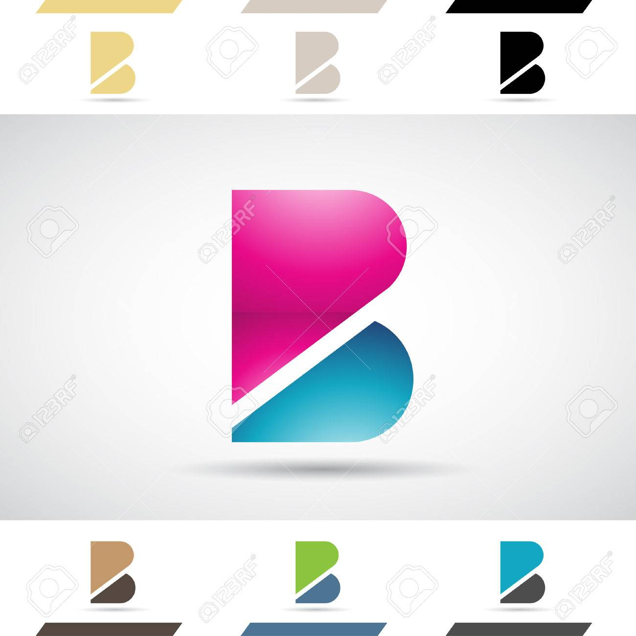 Design Concept Of Colorful Stock Icons And Shapes Of Letter ...