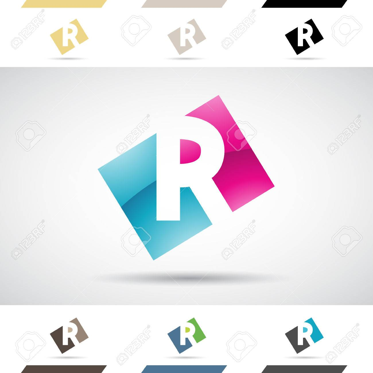 Design Concept Of Colorful Stock Icons And Shapes Of Letter R ...
