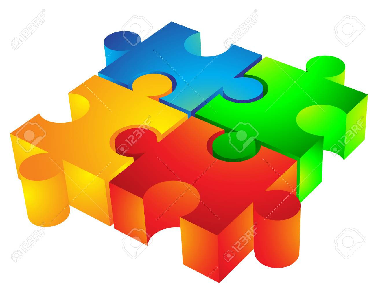 Jigsaw Puzzle 3d Icon Isolated On White Stock Photo