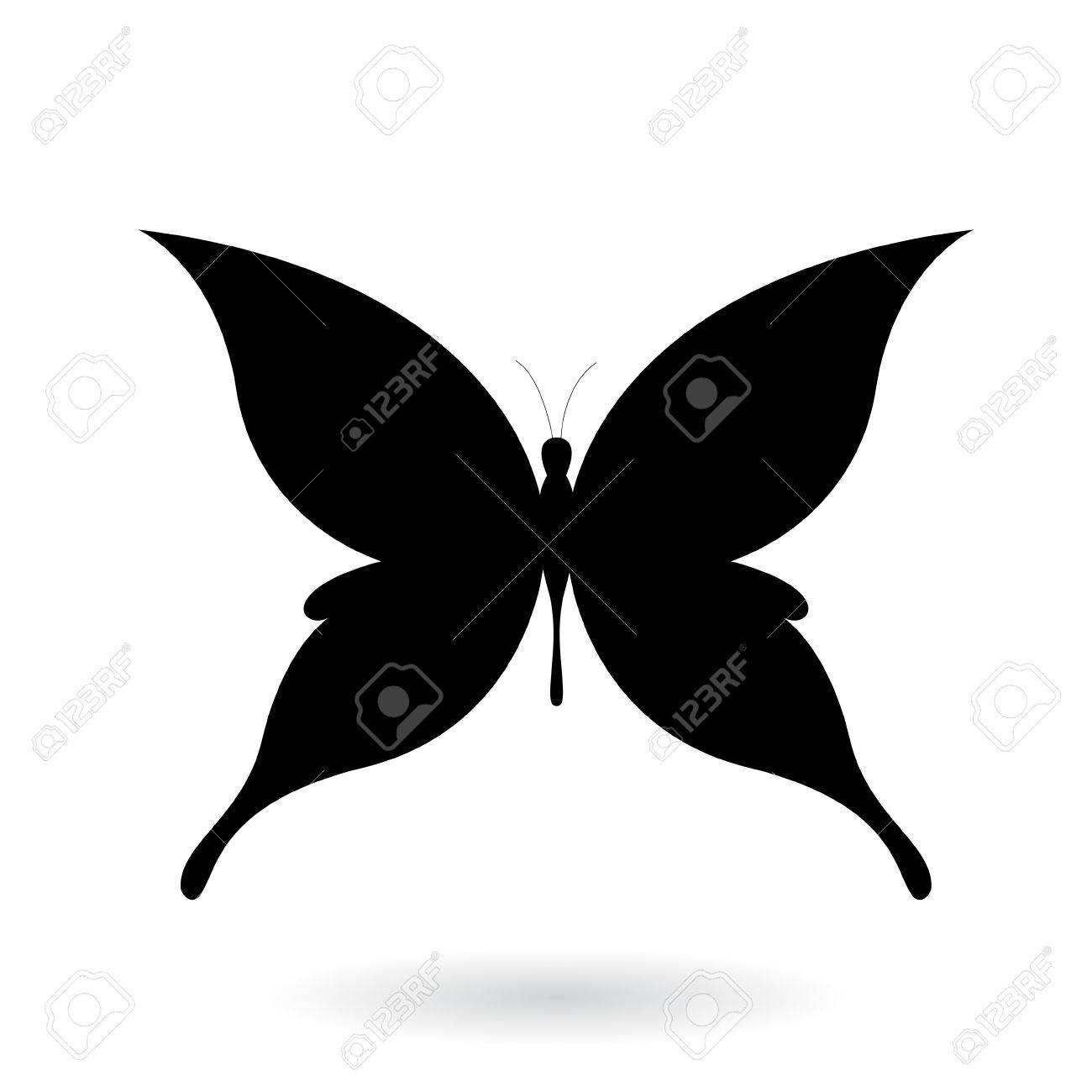 Vector Illustration of a Black Butterfly Silhouettey isolated on a white background - 67833446