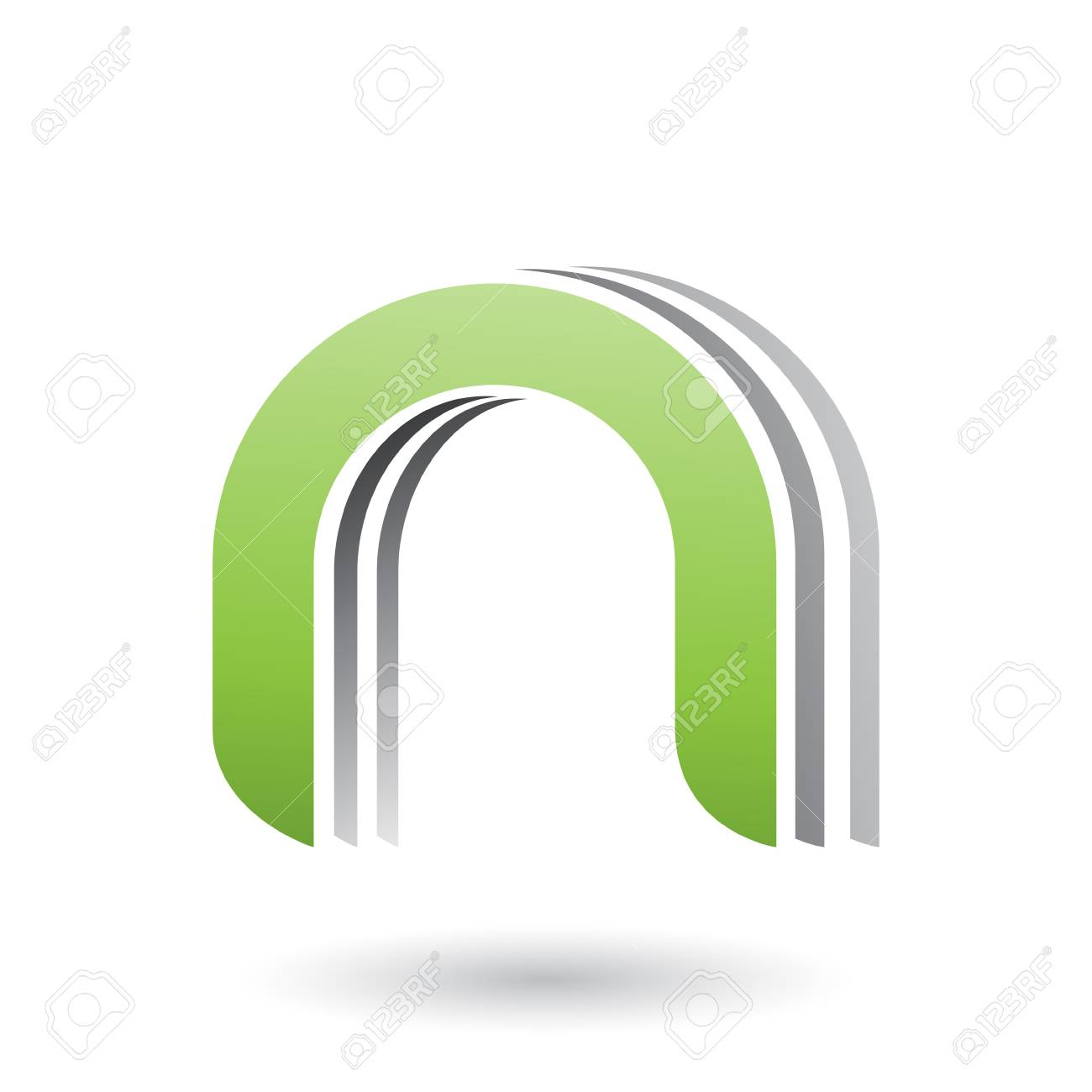 Vector Illustration of a Green Layered Icon for Letter N isolated on a White Background - 104393030