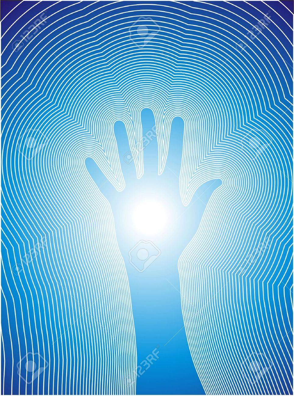 ial illustration of a hand and the reiki line. Stock Photo - 4763220
