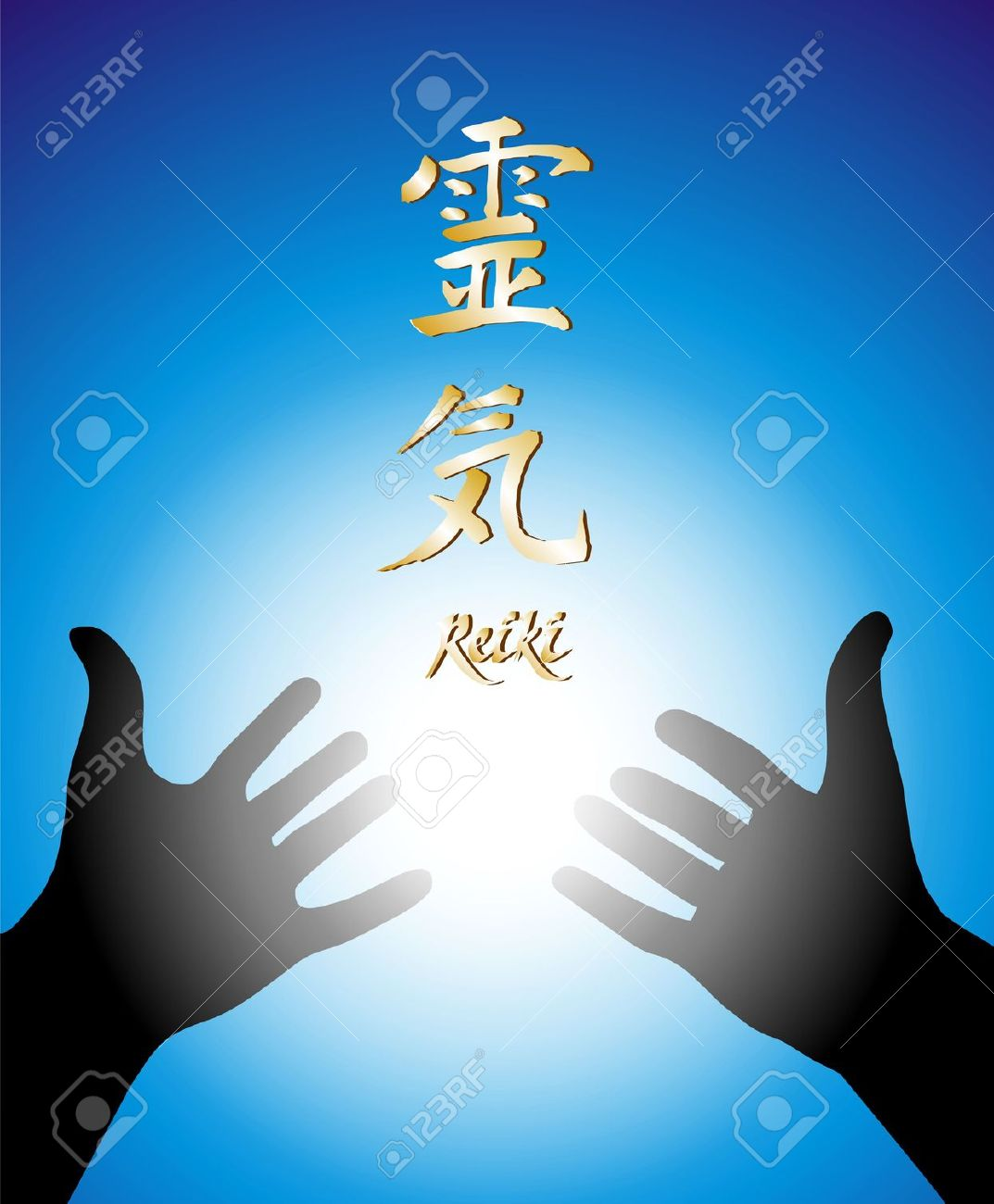 illustration of two hands and calligraphic symbol of Reiki over a blue background Stock Illustration - 4763531