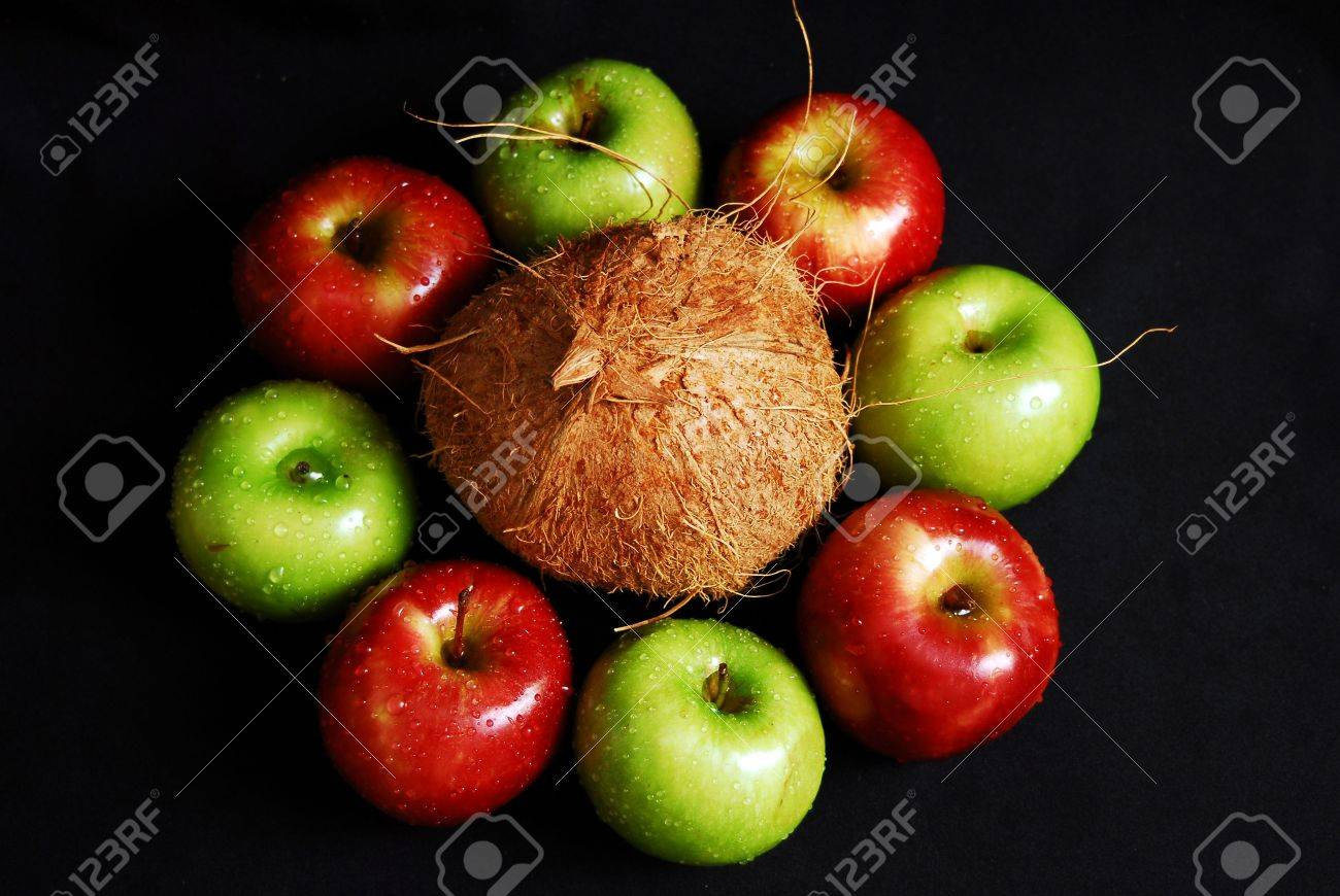 Colorful fresh group of fruits forming a circle. Black background. Look at my gallery for more fresh fruits and vegetables. Stock Photo - 4848156