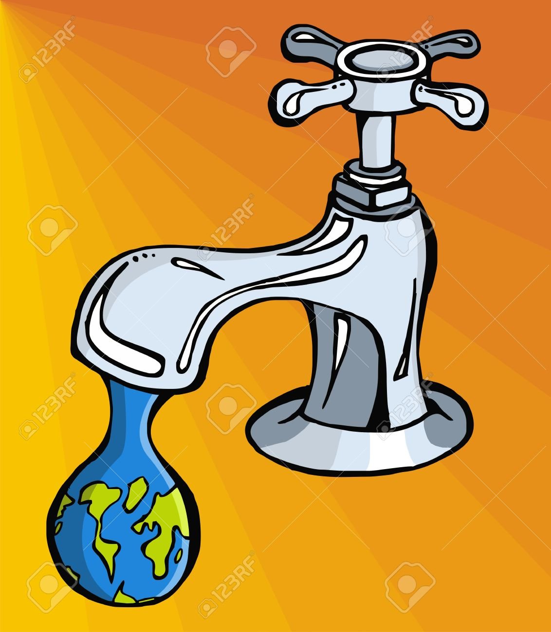 leaking faucet the earth planet shaped drop stock vector - Leaking Faucet