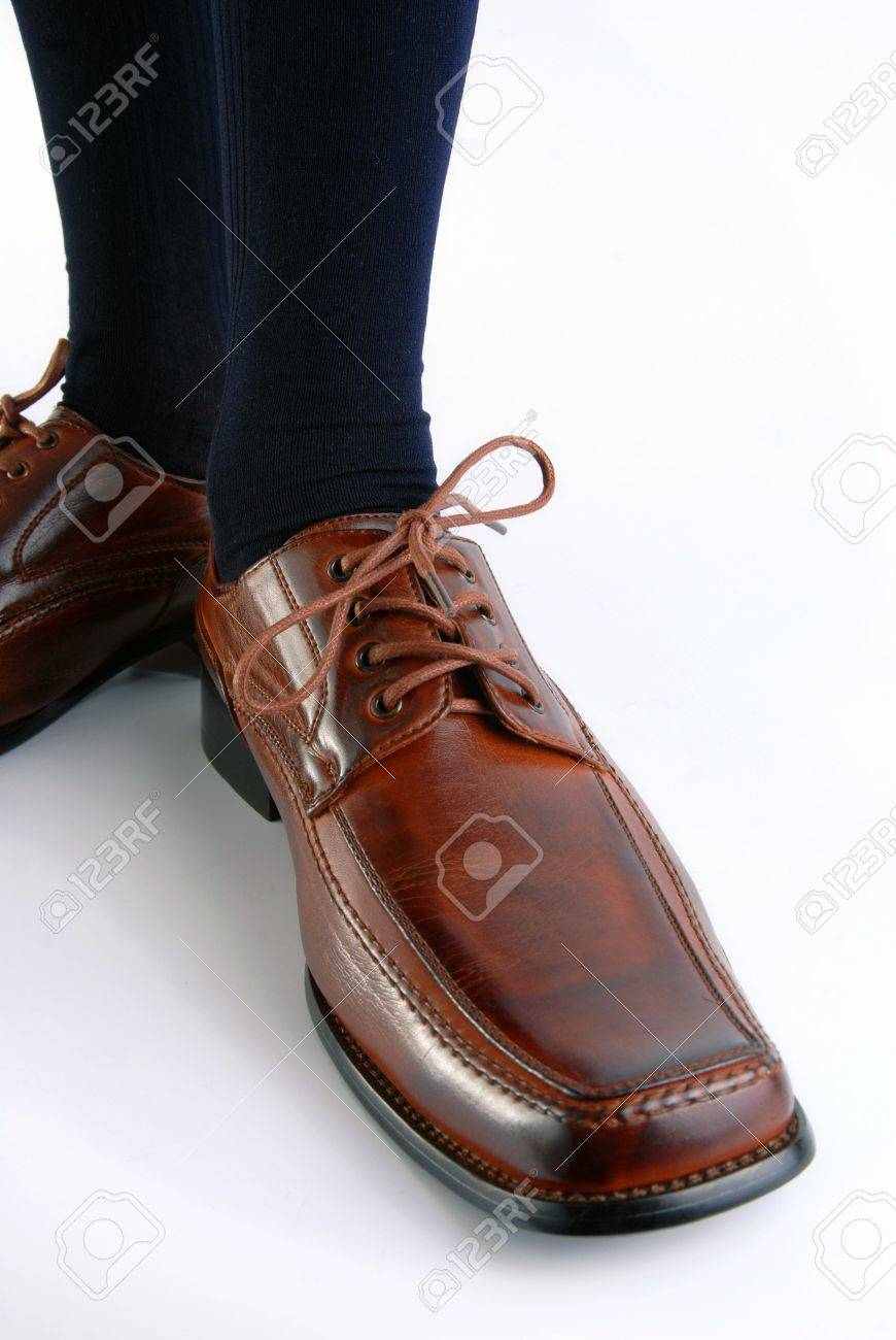 Businessman shoe on white background. Upper view, wide angle Stock Photo - 5391097