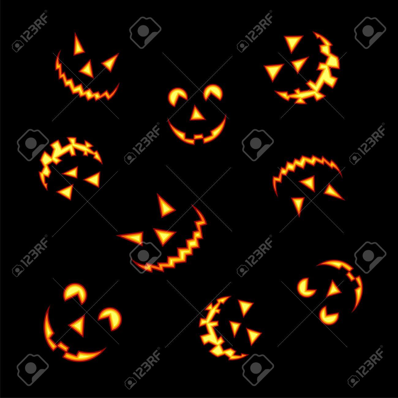 Halloween Kürbis Gesichter Leuchtet Hell Auf Schwarzem Hintergrund