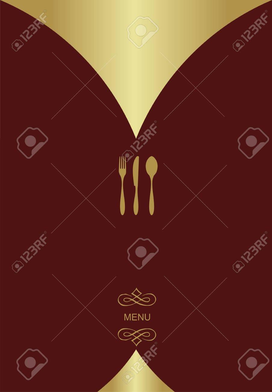 vintage menu background. food and restaurant design with golden