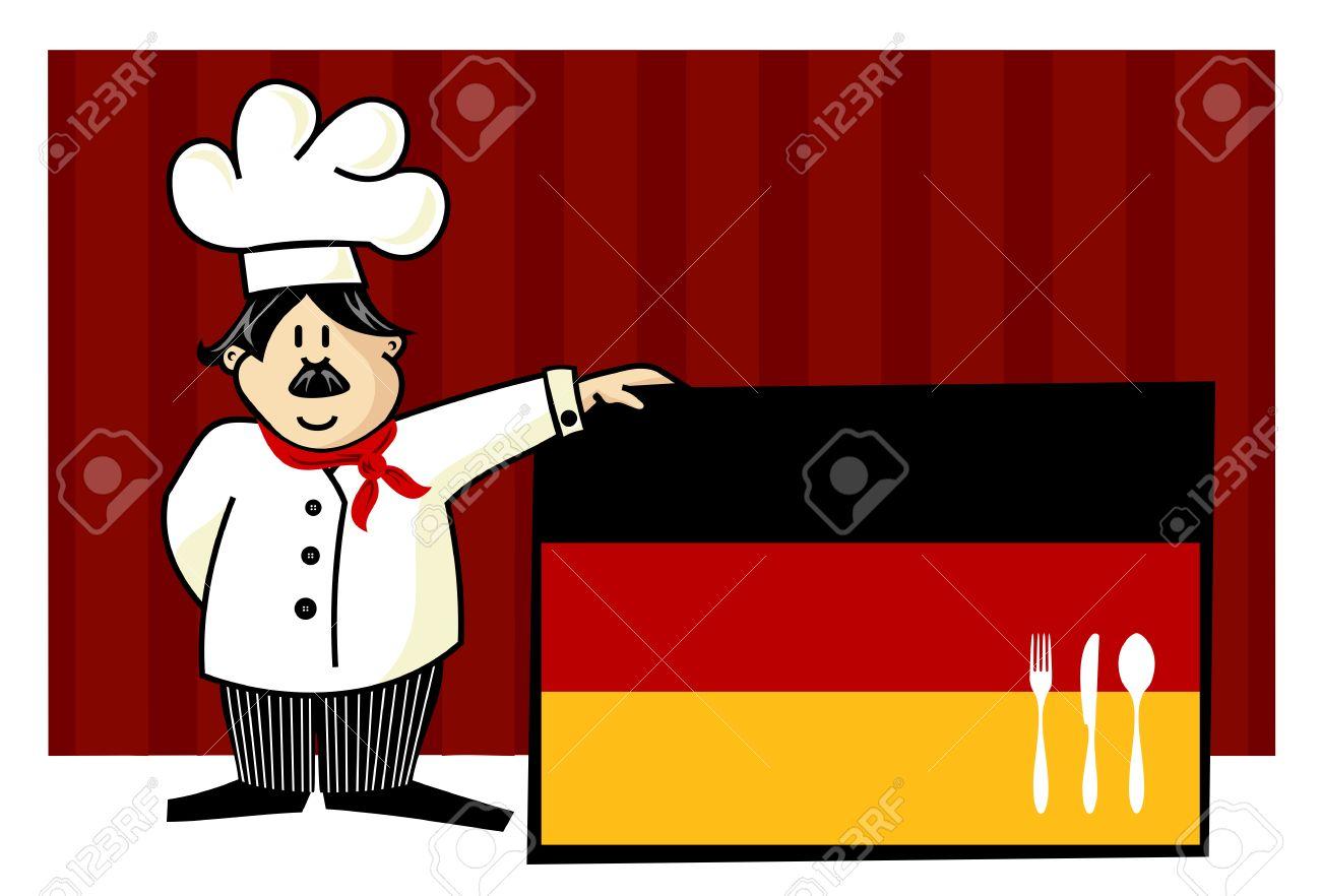 Chef De Cocina Alemana. Alimentos, Restaurante, Diseño De Menú Con ...