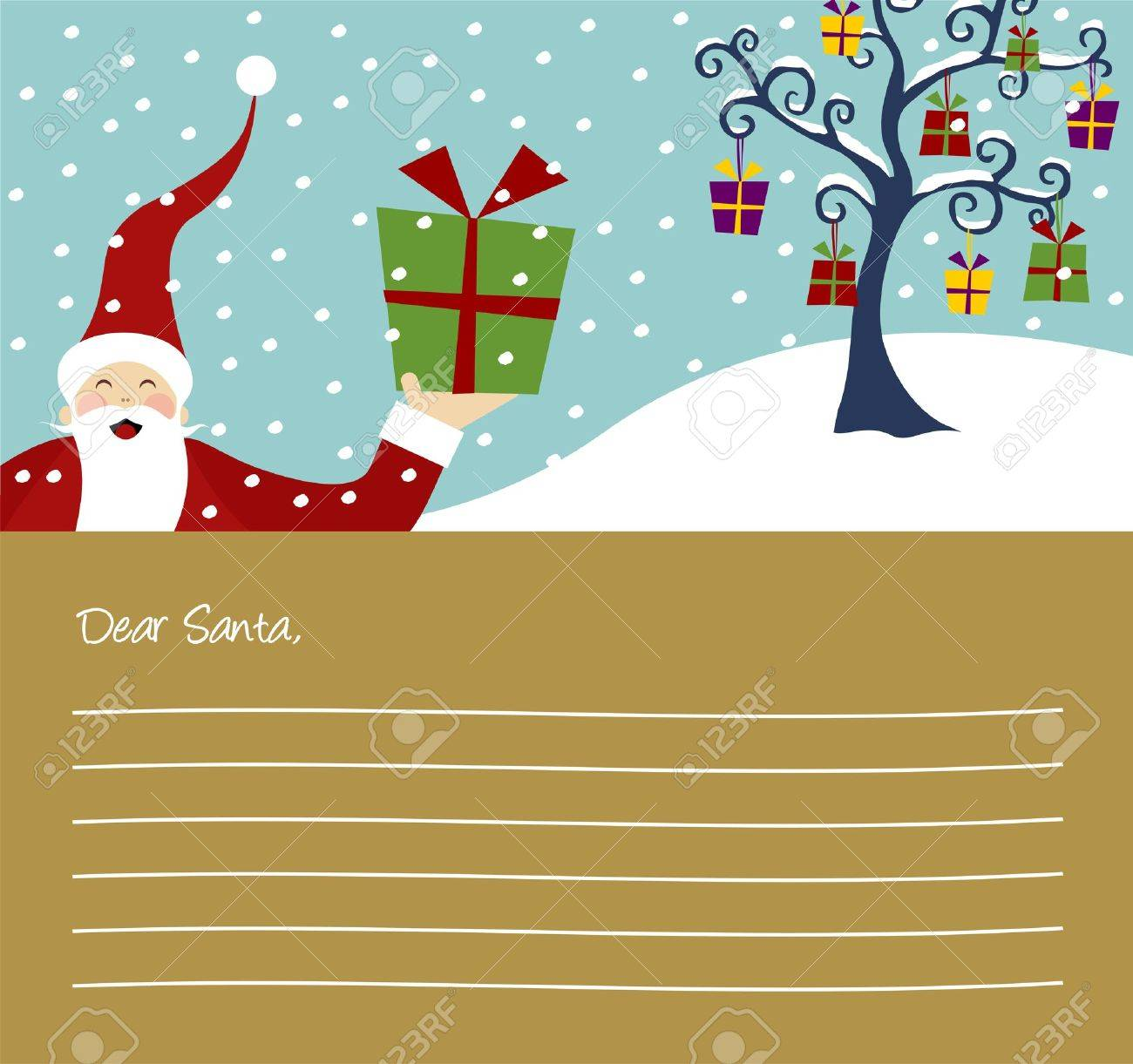 Happy Santa Claus and Christmas tree with lots of gifts letter background Stock Vector - 5876018