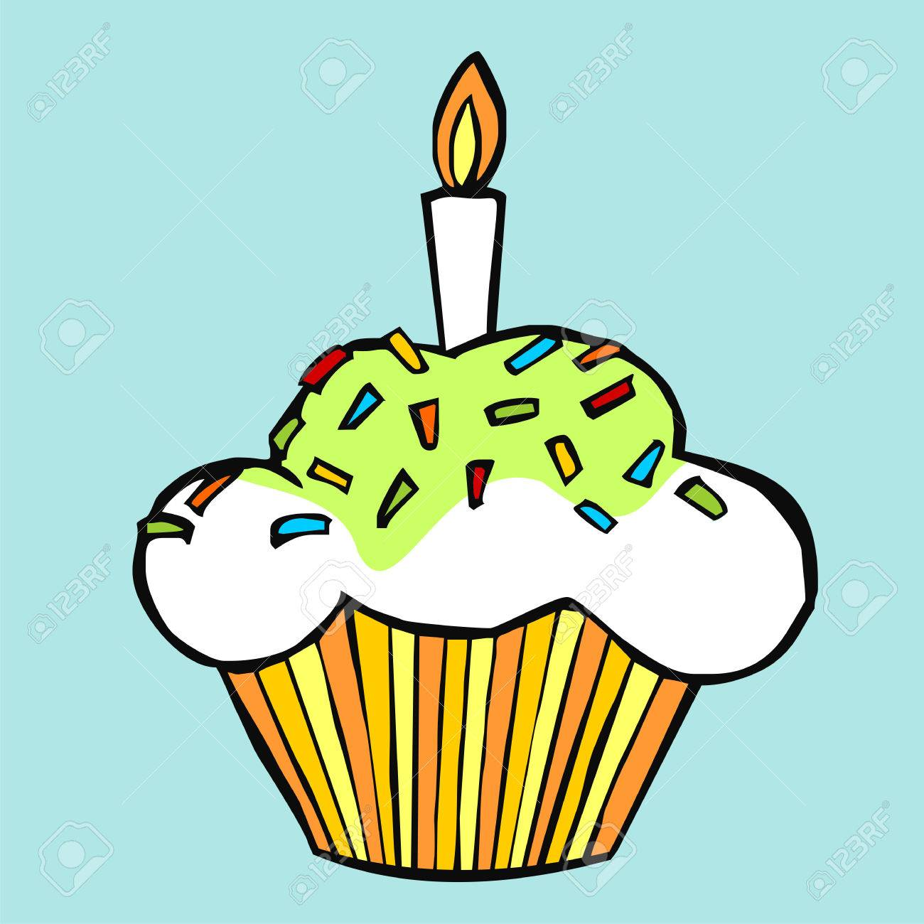 Colorful celebration muffin on light blue background Stock Vector - 6330666