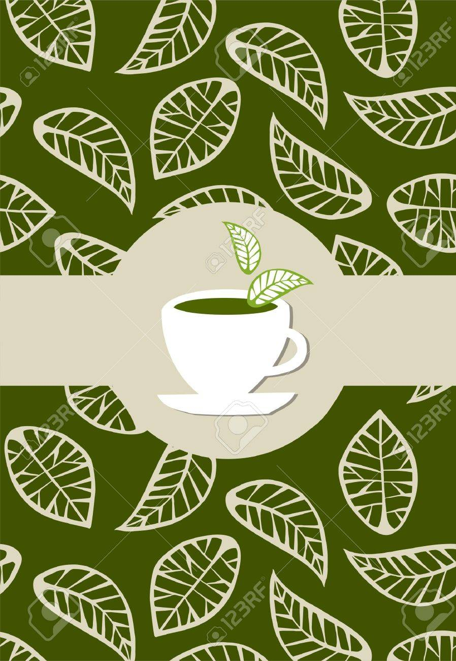 beige leaves on green background with green tea label  on white tea cup Stock Vector - 6330675