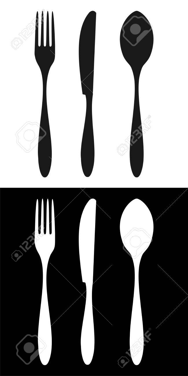 Cutlery icons. Fork, knife and spoon silhouettes signs on different backgrounds. Stock Vector - 6471541