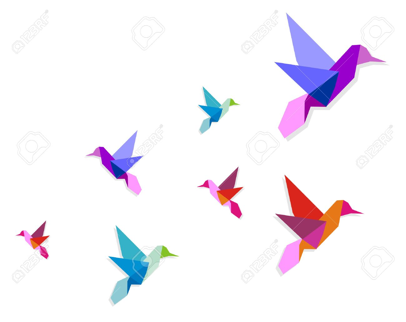Group of various Origami vibrant colors hummingbirds. Stock Vector - 6932874