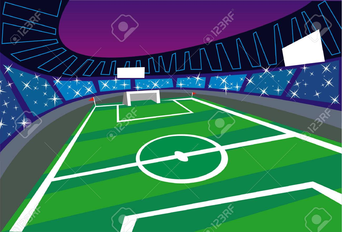Ilustración De Un Estadio De Fútbol Los Fanáticos Del Fútbol Están Tomando Fotografías Desde Las Terrazas