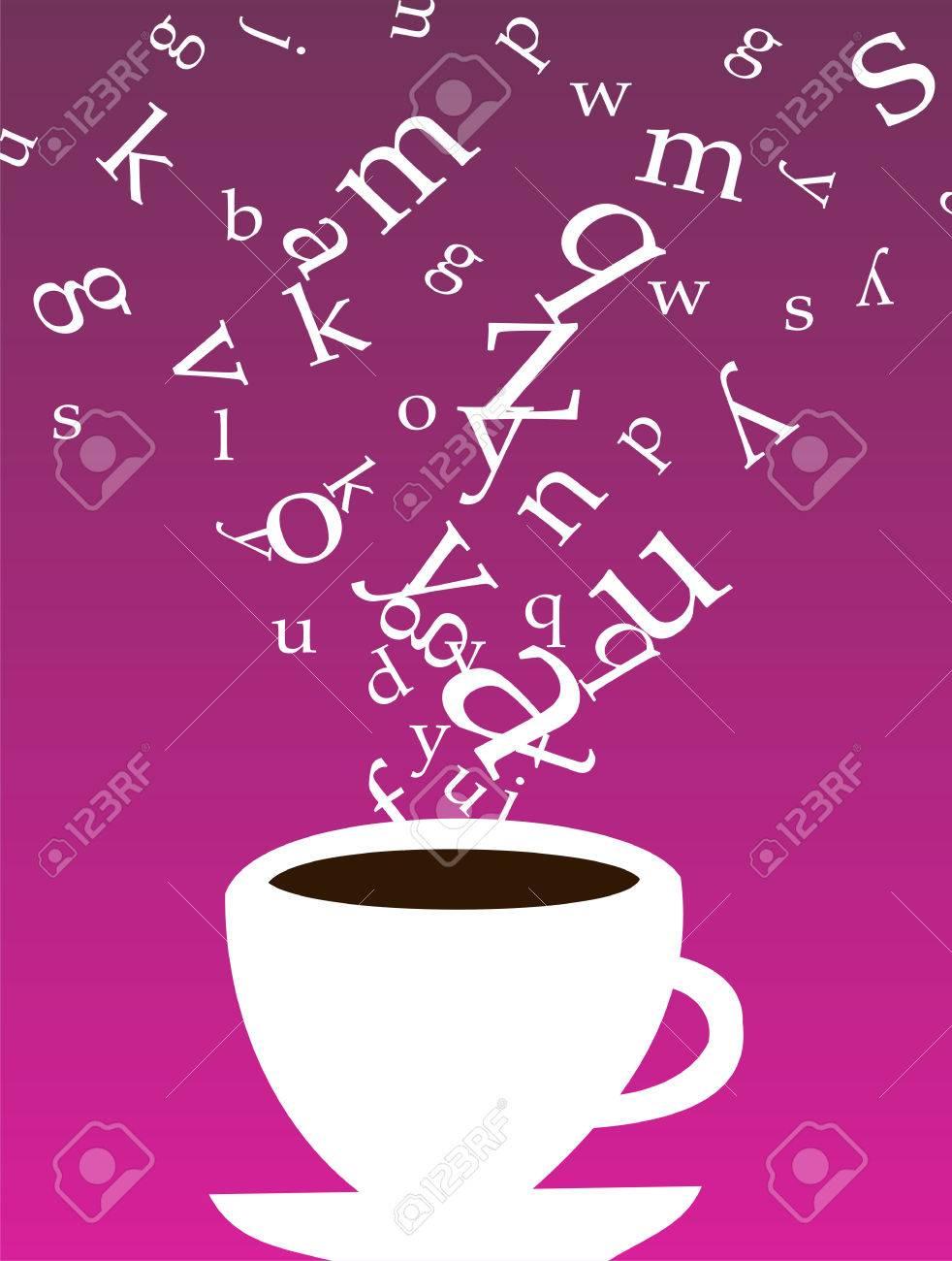 smokey tasse kaffee mit buchstaben schweben über auf lila