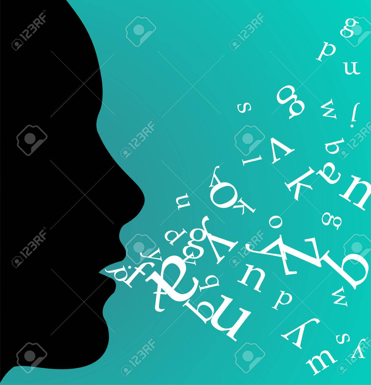 Female profile speaking and throwing letters from her mouth on green background. available. - 7097774