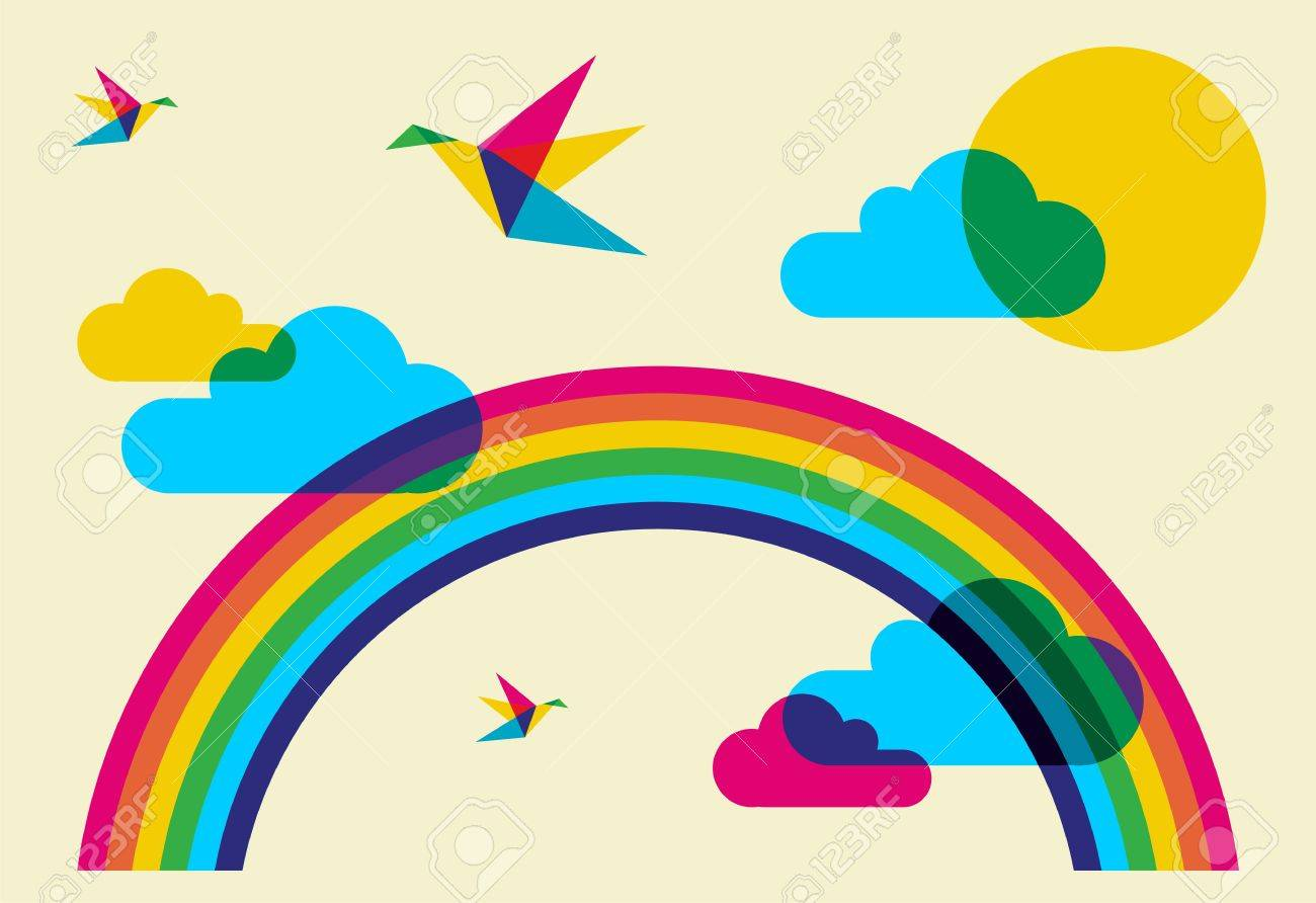 Spring time: full color humming birds, rainbow and clouds. Stock Vector - 8719304