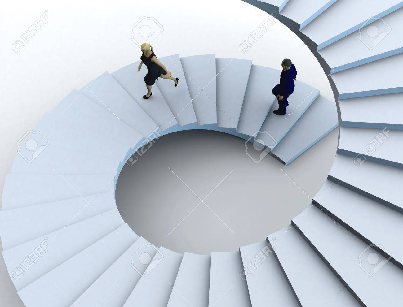 Businesswoman and a businessman going upstairs in a curved staircase. Stock Photo - 8910976