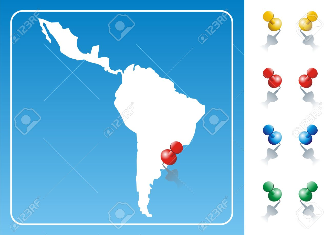 Latin America map illustration with pushpin. Vector image available. Stock Vector - 9379542