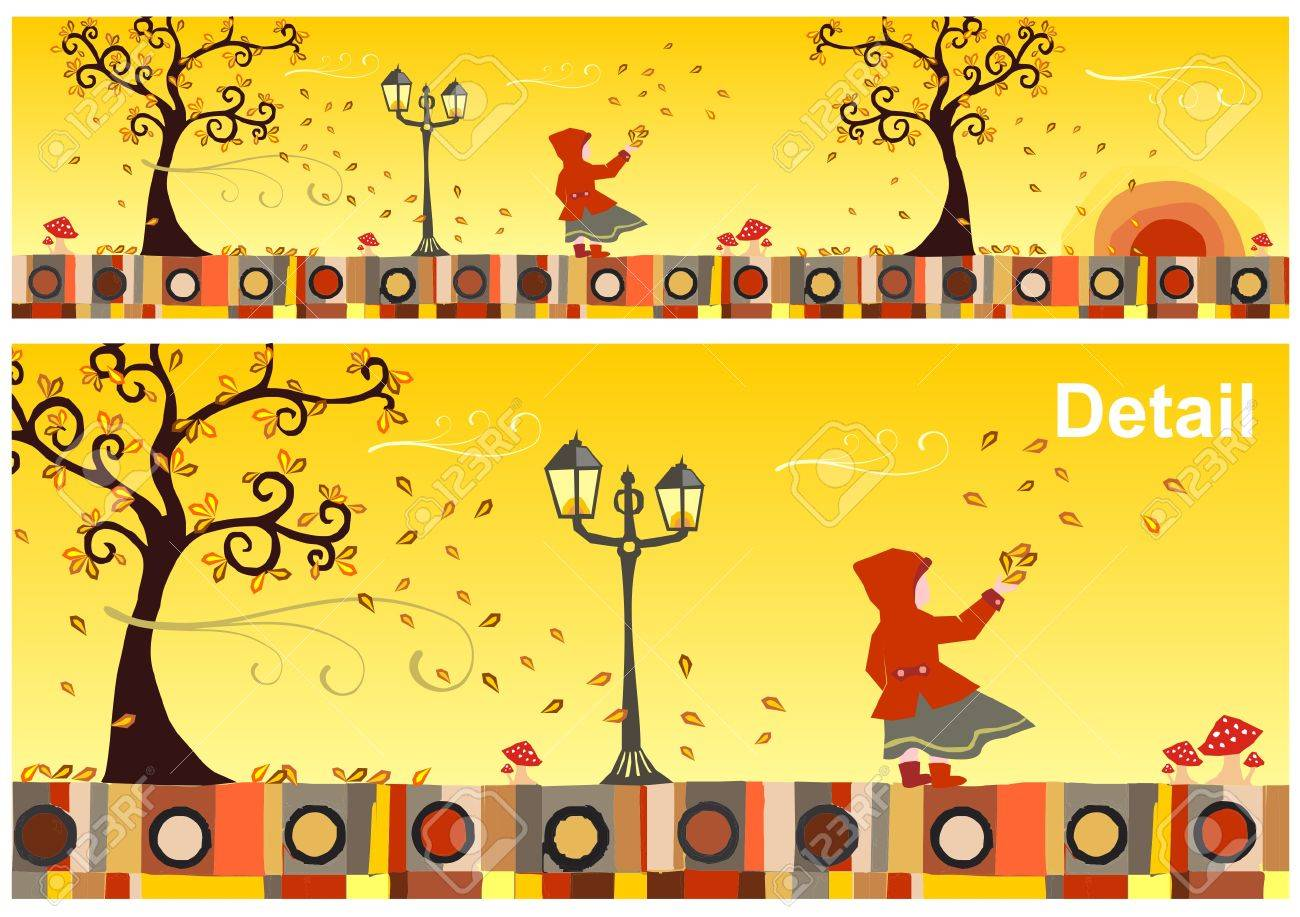 Girl with a red hood in a windy autumn day. Vector available Stock Vector - 9379531