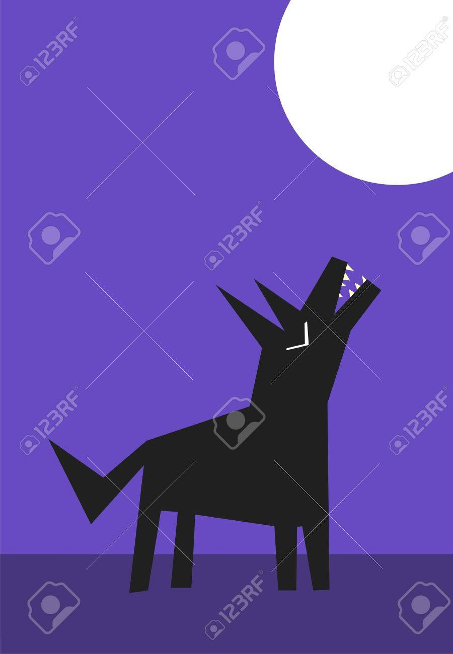 Wolf howling to the moon at night Stock Vector - 9583946