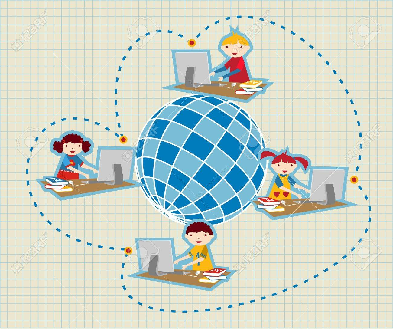 Children uses school social network to learn and teach class lessons. Stock Vector - 9934807