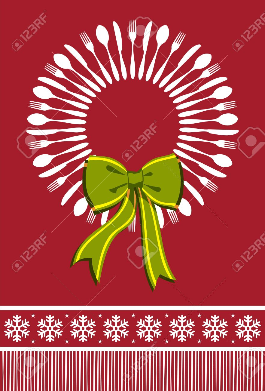Cutlery menu design background for Christmas season. Fork, spoon and knife forming a wreath with a bow over red background. Stock Vector - 10030914
