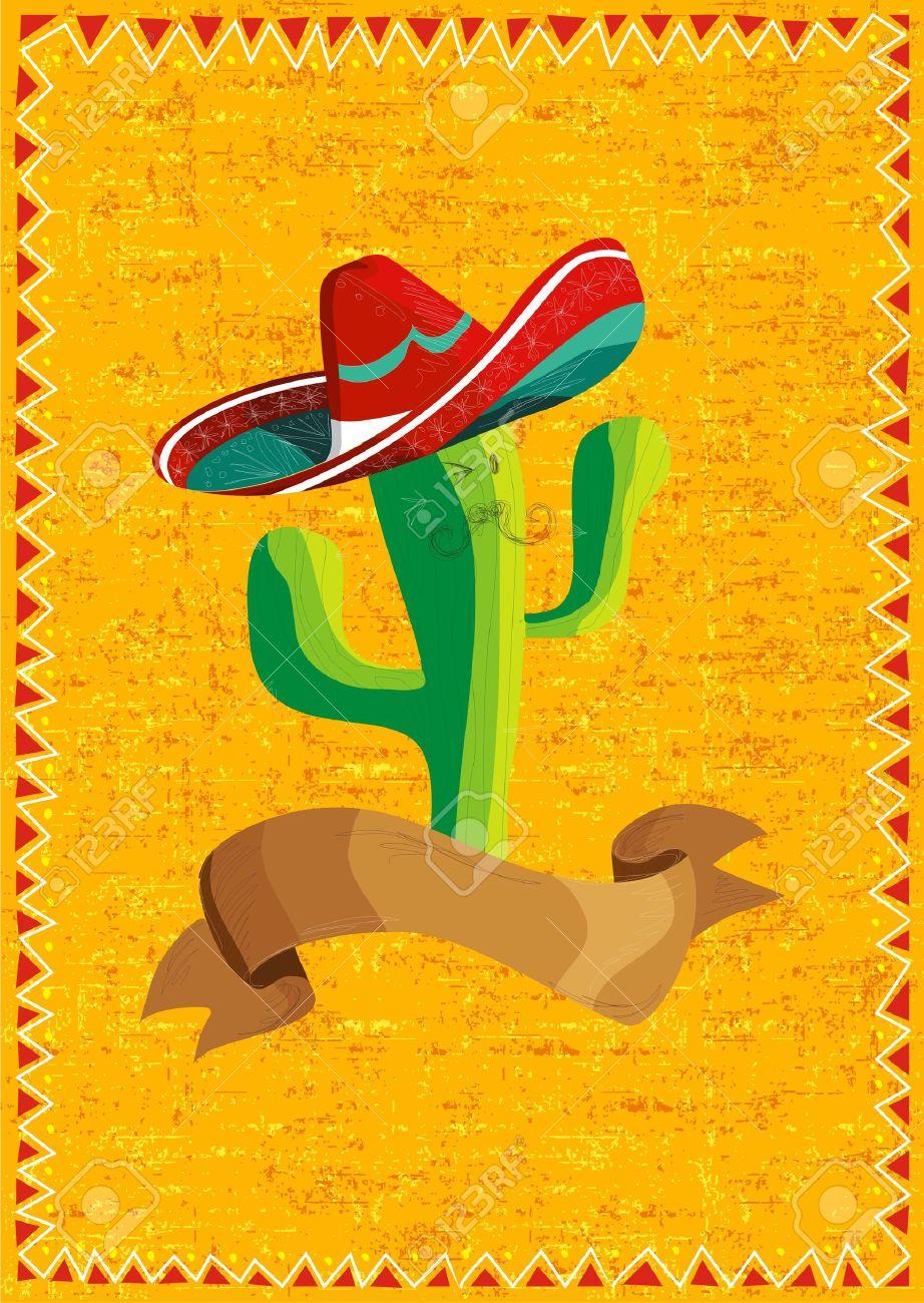 mexican funny cactus cartoon character and ribbon illustration