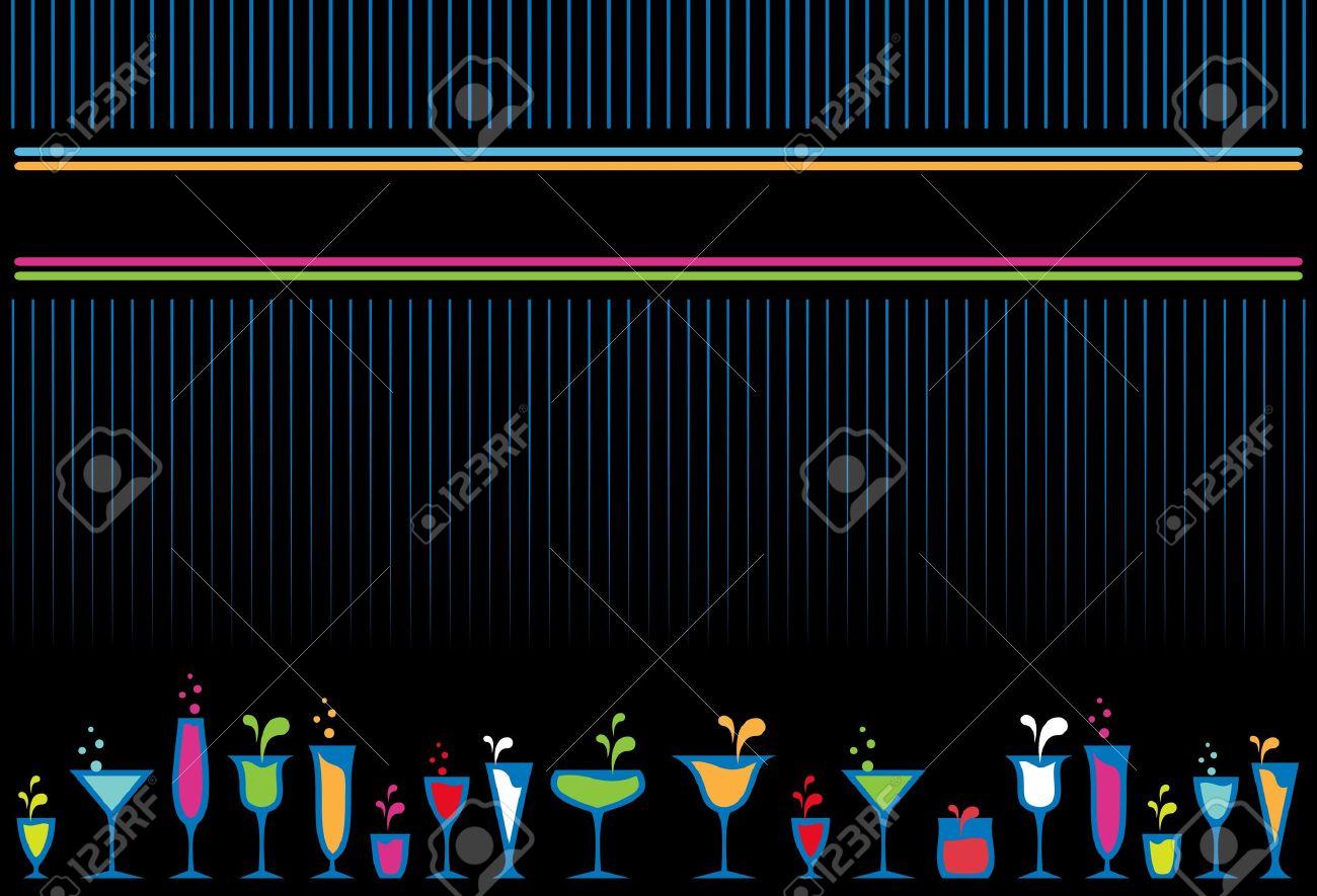 Colorful cocktail glasses and bottles menu design background. - 10554949