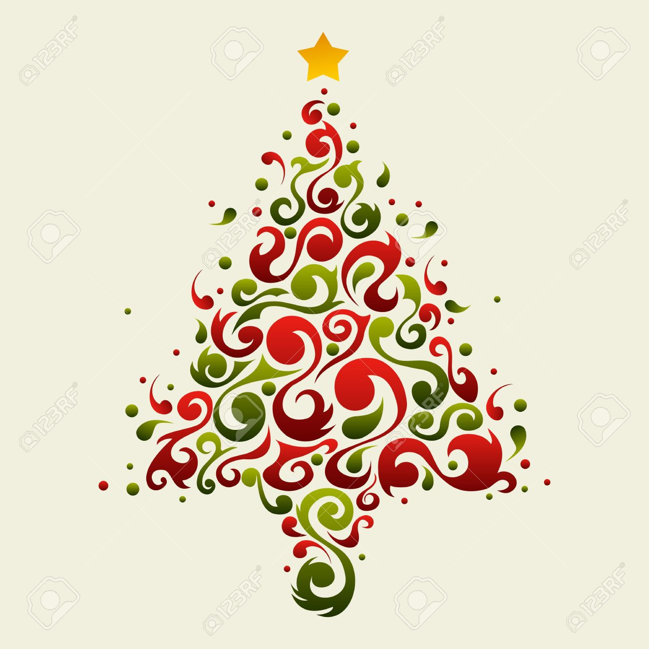 Christmas Tree Made With Green And Red Floral Ornamental Shapes ...