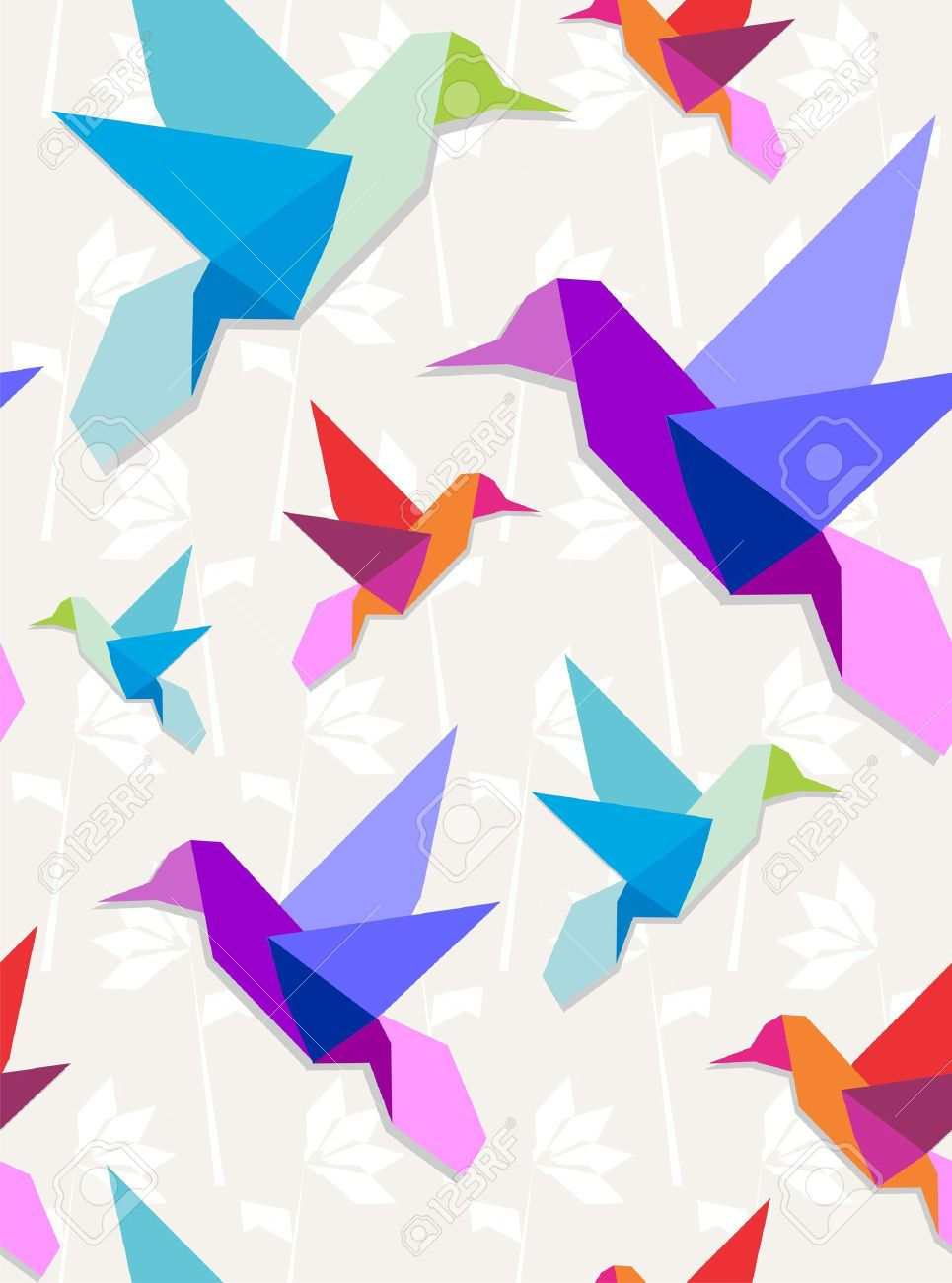 Pastel colors origami hummingbirds seamless pattern background. Stock Vector - 11076091