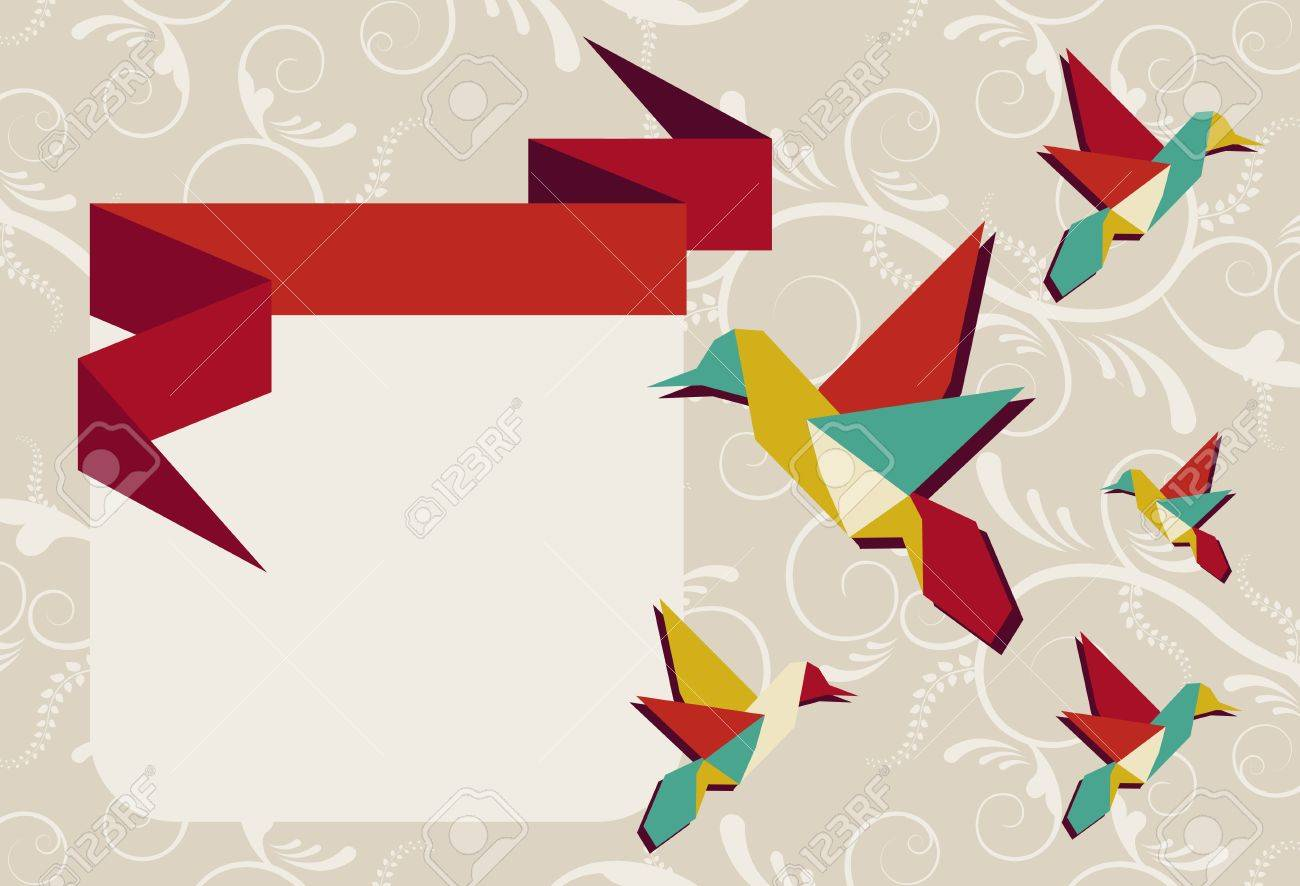 Vibrant colors Origami hummingbird group in greeting card design. Vector file available. Stock Vector - 11135695