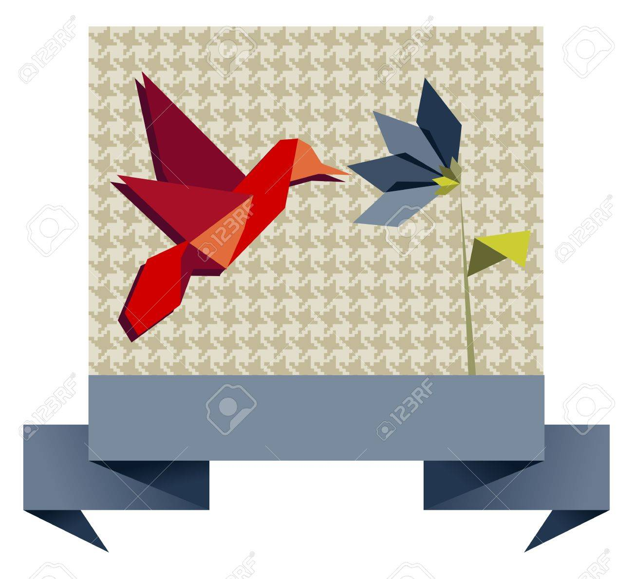 Single Origami hummingbird over textile seamless pattern background. Vector file available. Stock Vector - 11135686