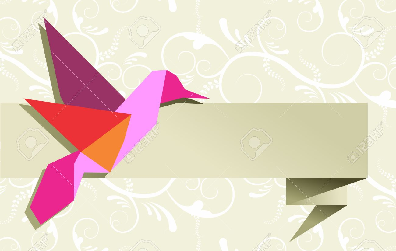 one origami hummingbird over floral design banner background