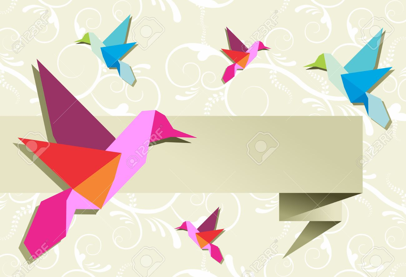 Origami Hummingbird Design In Pastel Colors Palette Background Vector File Available Stock