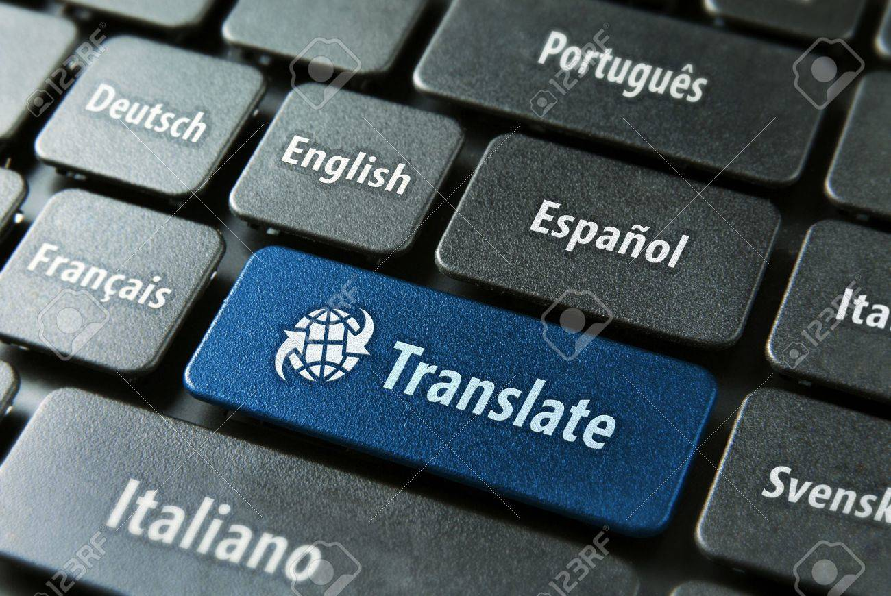Multilingual translation online concept. Close up of multi language keyboard and translate word key in blue color with clippingpath. - 11182695