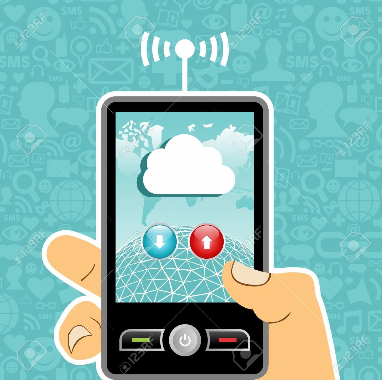 Hand holding a cell phone with cloud of communication on blue background with social media icons. Stock Vector - 11290603