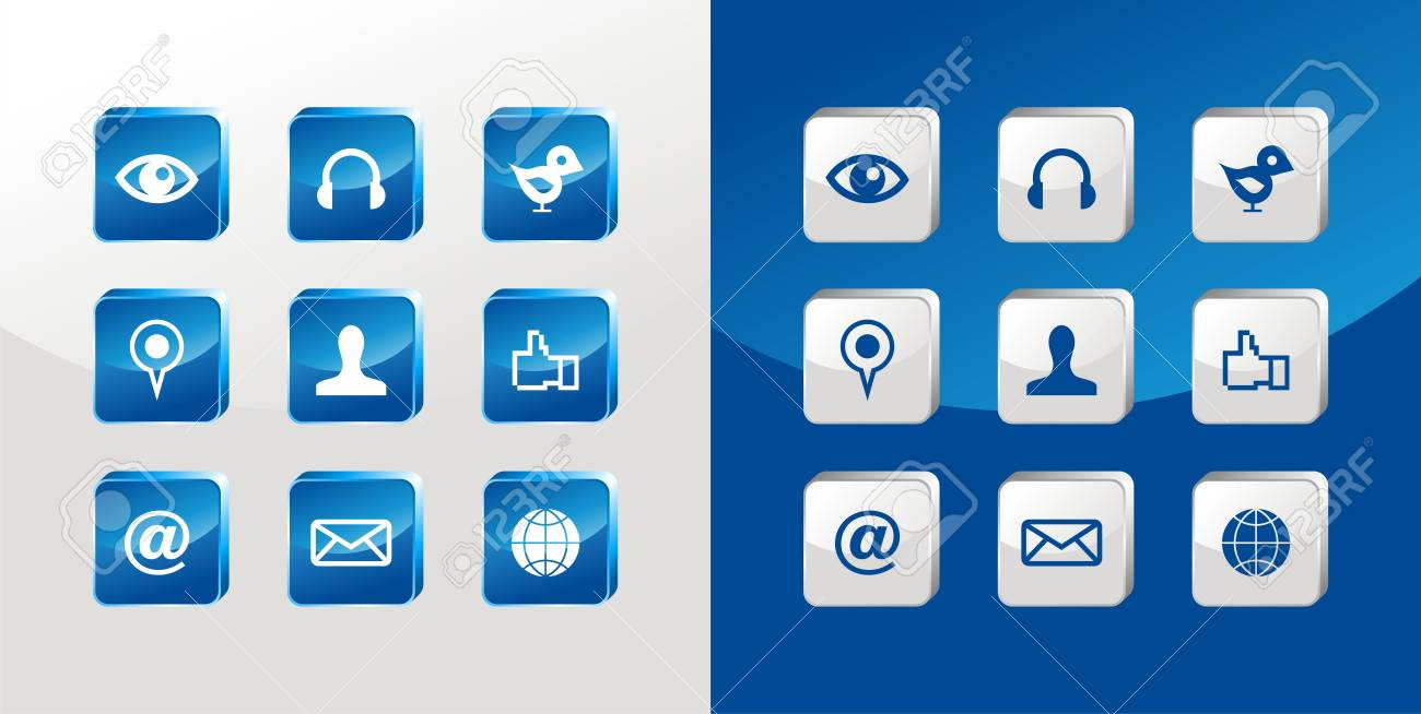 Social media icons glass set over light and dark background. Stock Vector - 11290589