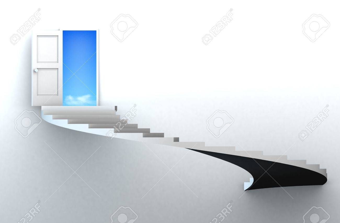 Open door to success with 3d stairs. Included clipping path in the door, so you can easily cut it out and place your own subject. Stock Photo - 11290733