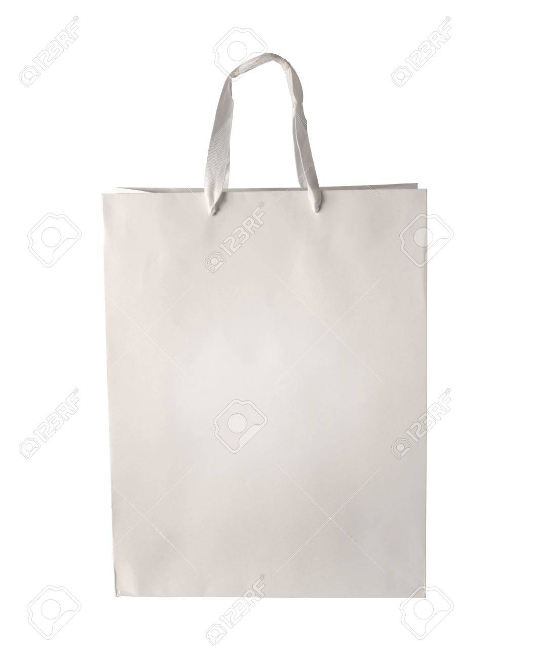 Cardboard Shopping Bag Template Isolated On White Background. Stock ...