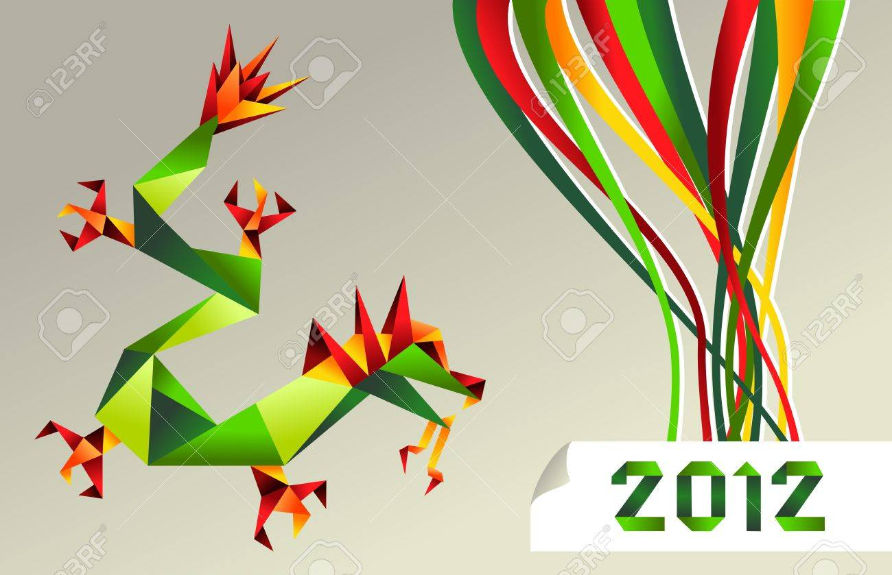 Single colorful China origami dragon with 2012 year on gray background. Stock Vector - 11647335