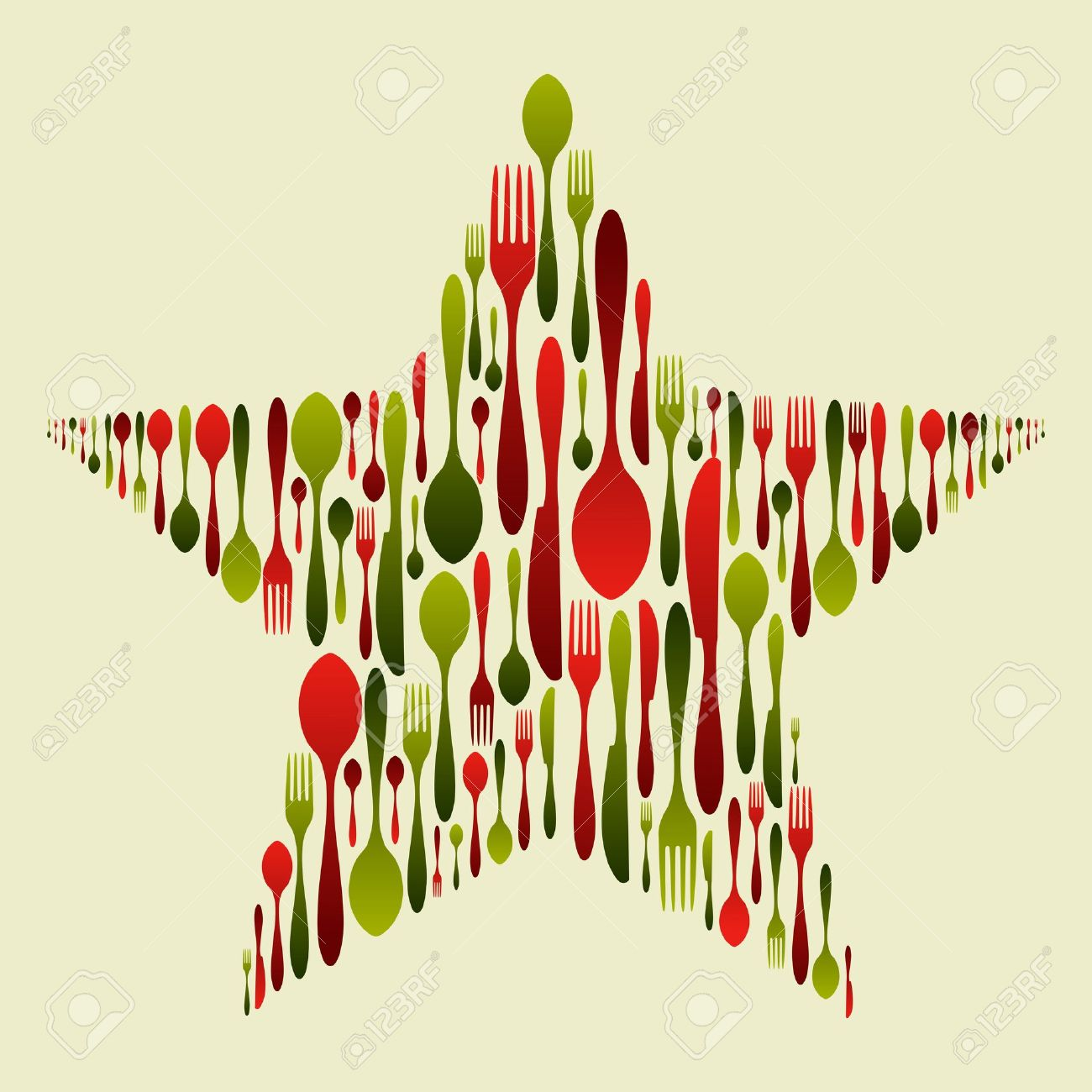 Christmas star with multicolored cutlery set. Fork, spoon and knife pattern forming a star. Usable as invitation card. Vector file available. Stock Vector - 11647257
